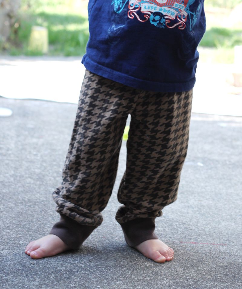 These cozy pants were once sleeves to an adult sweatshirt.