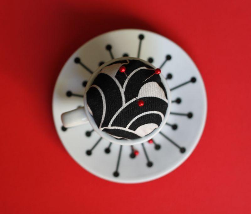 Diy tea cup pin cushion