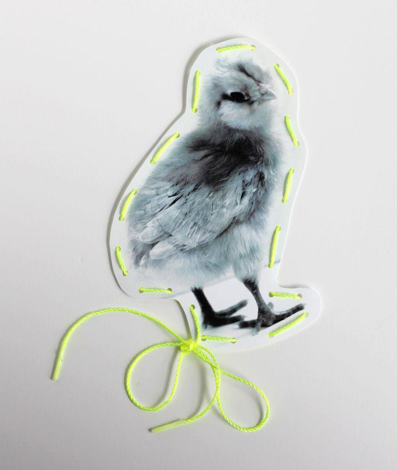 DIY chick lacing card