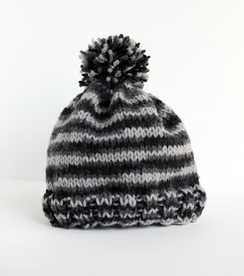 Simple Hat Knitting Pattern In The Round : Basic knit hat