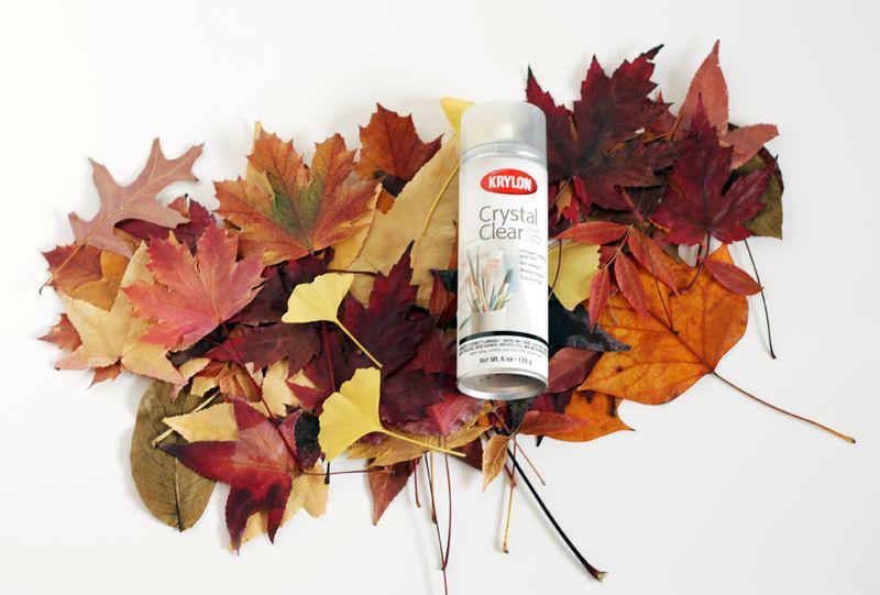 Spray acrylic fall leaves