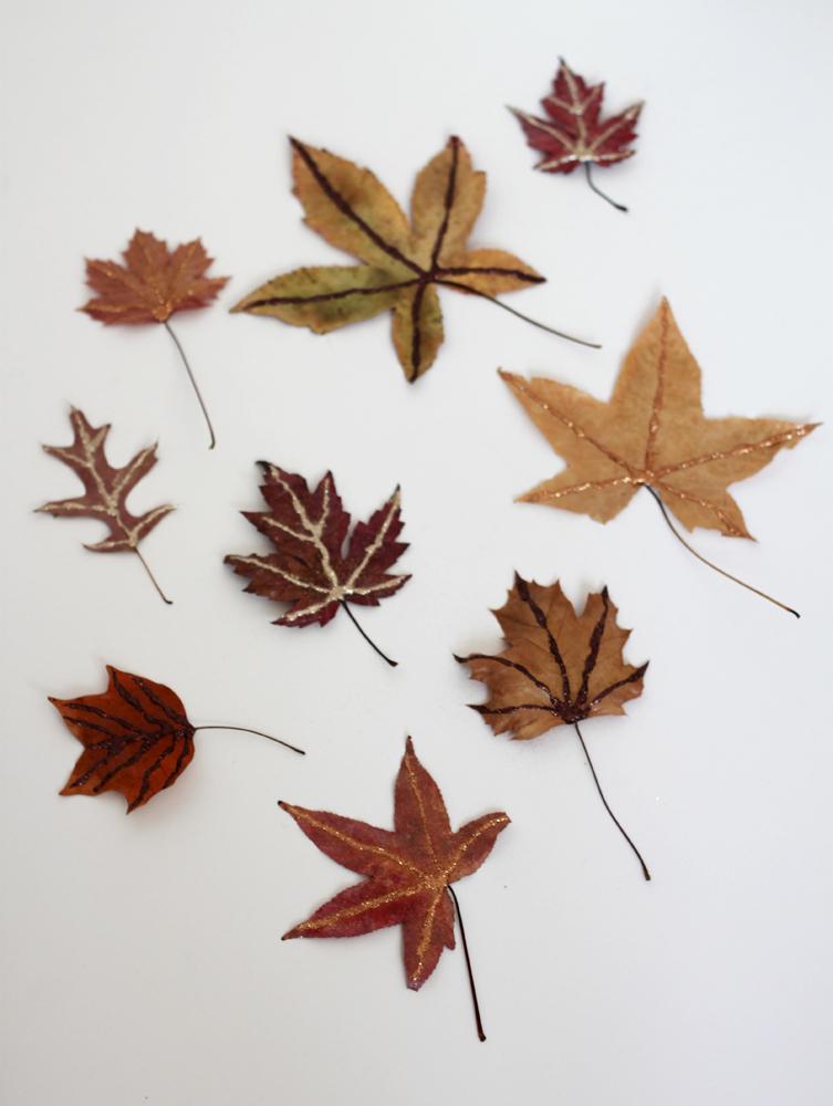 Simple glitter leaves