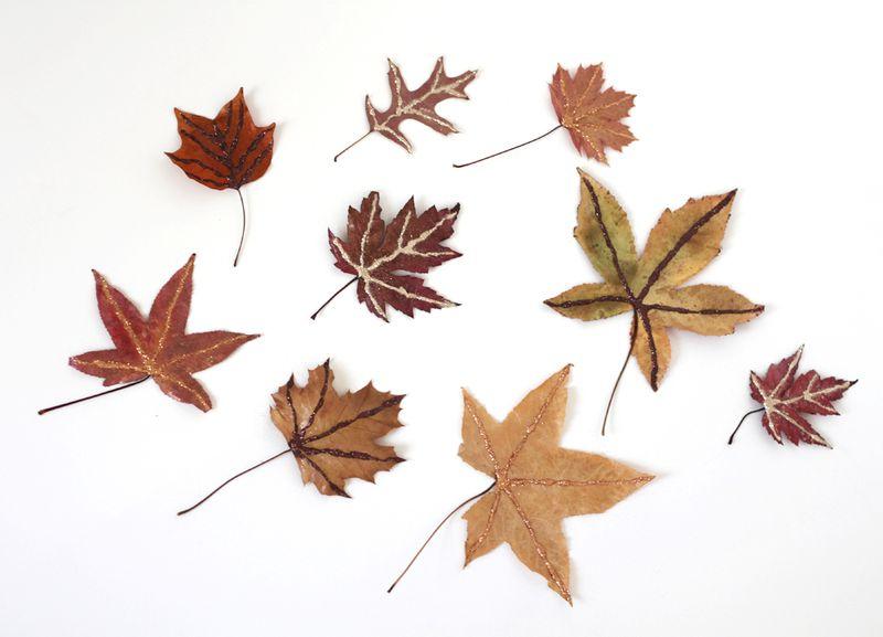 Glittery fall leaves