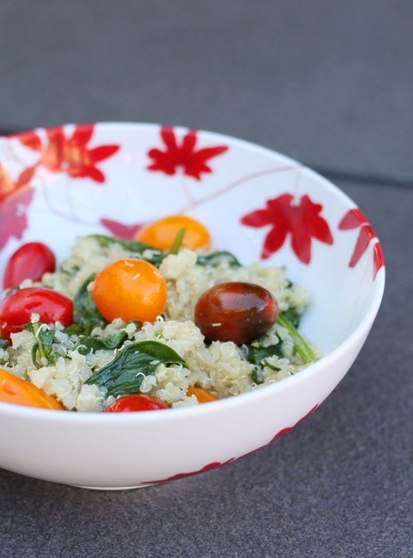 Lemony Tomato Spinach Quinoa Salad