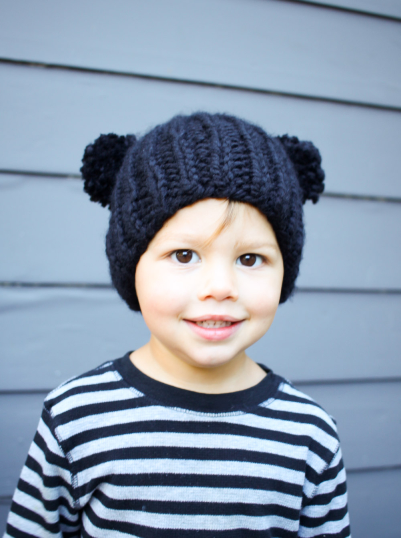 Knit two pom pom hat