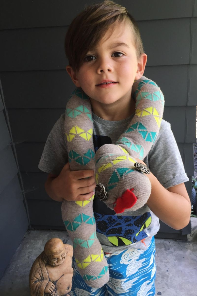 Kid made sock snake
