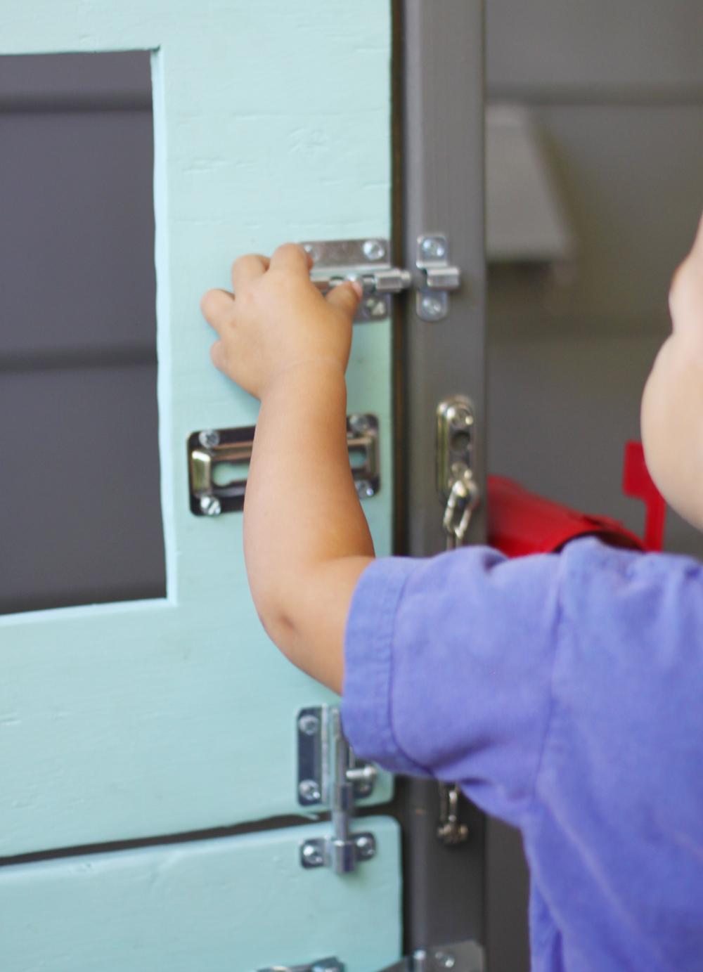 Diy latch board & small + friendly: DIY Mini Dutch Door! A Handmade Activity Toy