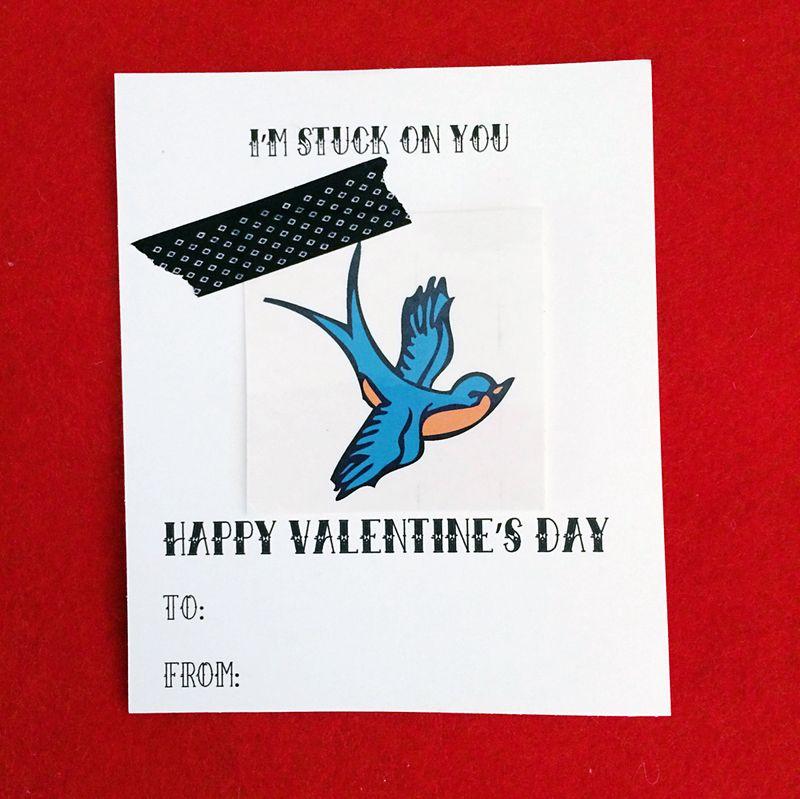Printable tattoo valentine