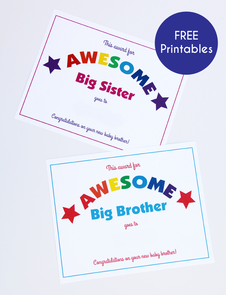 Free printable big sibling awards