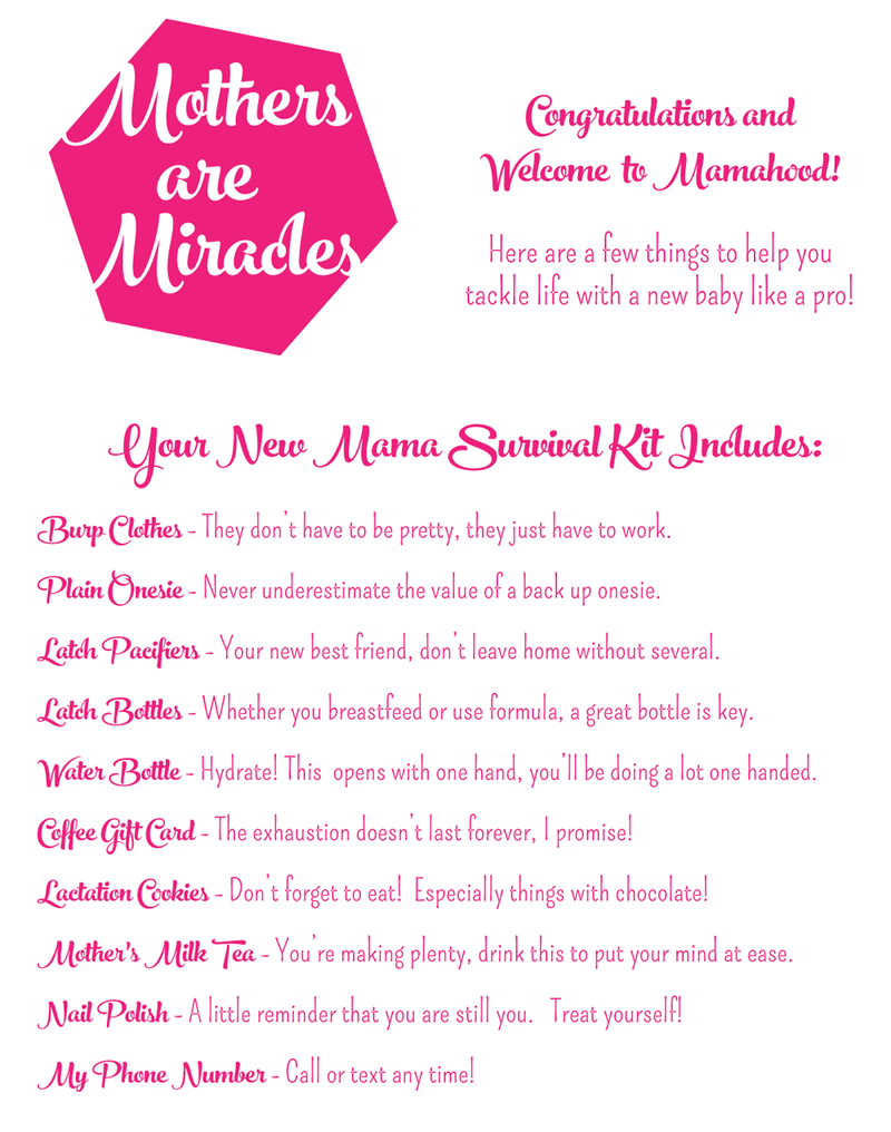 New Mom Survival Kit Free Printable