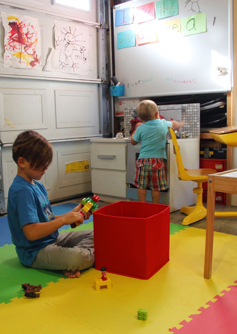 Garage turned playroom