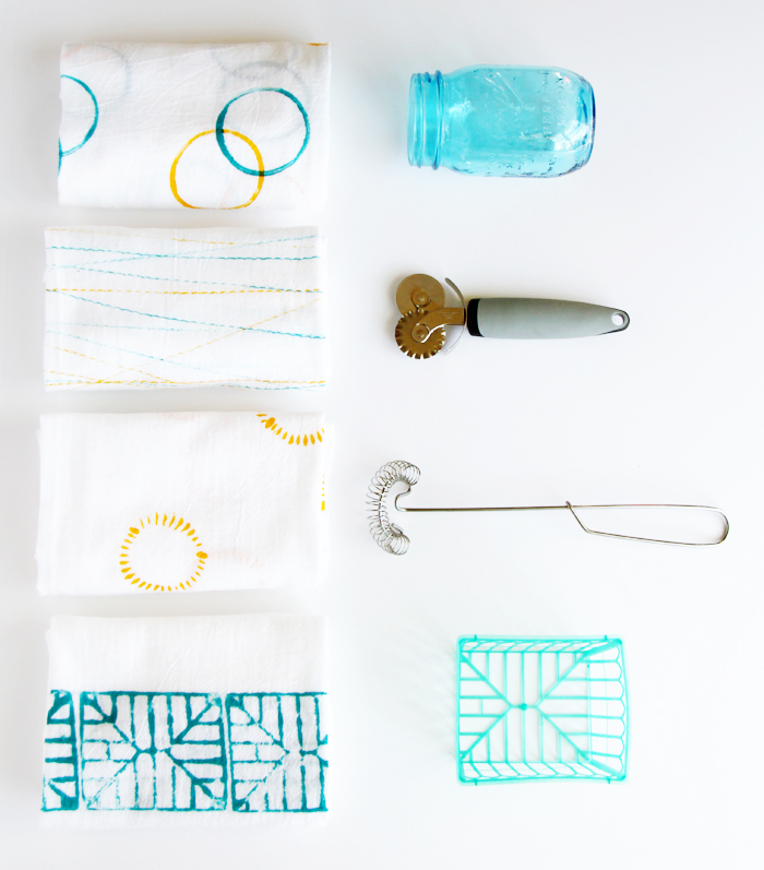 Dishtowels printed with kitchen objects