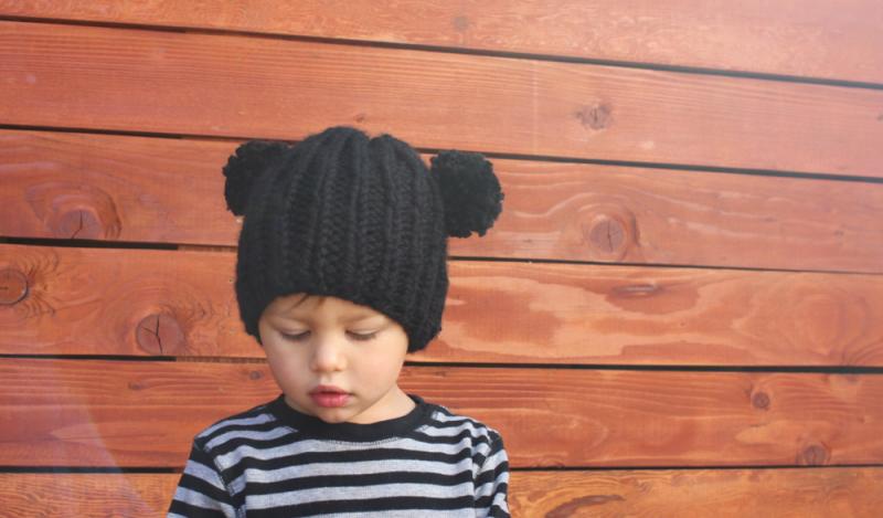 Cute kids knit bear hat